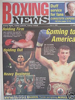 Boxing News 9 July 1999 Calzaghe  Schwer  Hamed Lewis v Holyfield