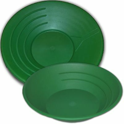 "2 Pack Green Gold Panning Pans 10"" and 14"" Gold Pan Gold Nuggets Sleucing"