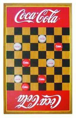 Coca-Cola Checkerboard Sign w/ Bottle Crown Game Pieces
