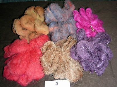 Wool Roving Lot of 6 Different Colors - Approx 2.4 oz - 12ft each color