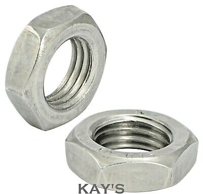 Hexagon Thin Half Lock Nuts Metric Coarse Threads A2 Stainless Steel M1.6 - M36