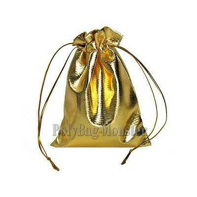 50 Metallic Gold Wedding Pouches Jewelry Gift Bags 1.9x2.7""
