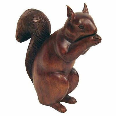 Wooden Red Squirrel Sculpture Carving 30Cm Suar Wood Hand Carved