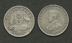 AUSTRALIA 1925 KING GEORGE V SILVER THREEPENCE 3d COIN