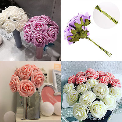 20 Heads PU Artificial Rose Flowers For Bridal Shower Bouquet Wedding Decoration