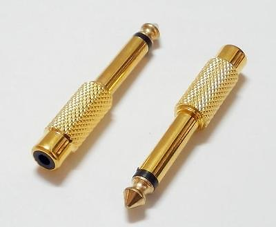 "1/4""  6.35mm Mono Male To RCA Female Audio Connector Adapter GOLD Plated"