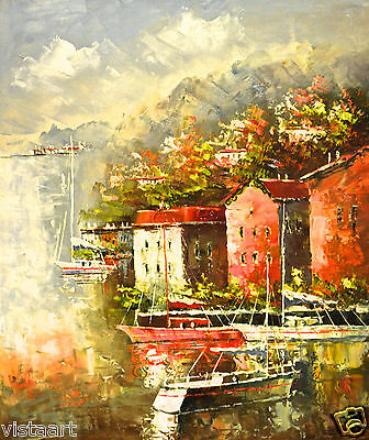 """Quality Oil Painting on Stretched Canvas 20""""x 24""""-Still Boats by Village"""
