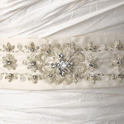 White or Ivory Crystal Rhinestone Beaded Bridal Belt Wedding Satin Sash
