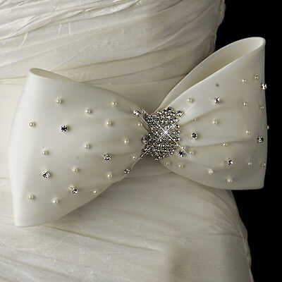 White or Ivory Pearl & Rhinestone Crystal Wedding Dress Bow Satin Sash Belt