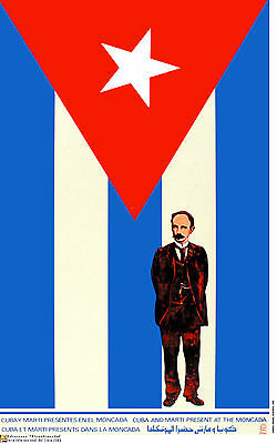 Political cuban POSTER.JOSE MARTI Cuba flag.Moncada.Revolution Cold war art.62