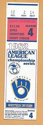 1982 ALCS ticket stub Milwaukee Brewers California Angels Gm 4 EXMT Moose Haas W