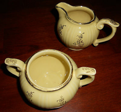 Vintage Pearl China Co Creamer & Sugar Set Yellow Hand Decorated w/ 22K Gold