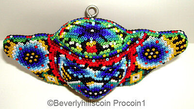 Huichol Indians of Mexico Ethnic Folk Art  Glass Bead Painting Cherub Angel