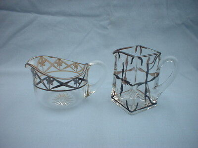 2 Vintage  Small Size Glass Pitchers With Silver Decor