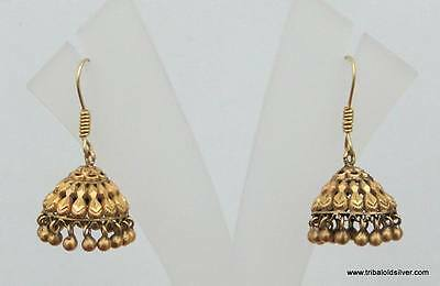 Rare! Vintage Antique Ethnic Tribal Solid 18 Carat Gold Earring Pair India