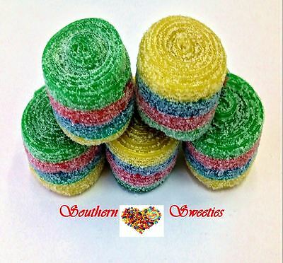 Fini Fantasy Rollers Red Green Yellow Blue Rainbow Candy Belts Lollies Wrapped