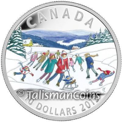 Canada 2013 Winter Scene Pond Ice Skating $10 Pure Silver Proof with Full Color