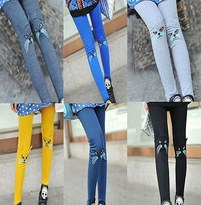 Women Girls Cute Fashion Embroidery Cat Leggings Stretch Pants 7 Colors