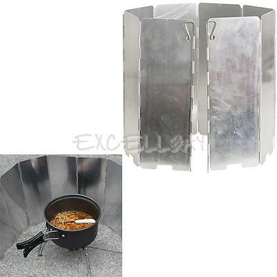 8 Plates Folding Camping Picnic Cooker Stove Wind Screen Windshield  E0Xc