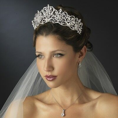 Silver Crystal Rhinestone Royal Princess Wedding Bridal Pageant Prom Tiara Crown