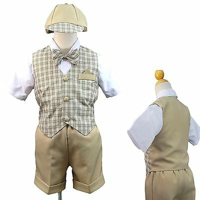 Khaki Baby Boy Toddler Wedding Formal Shorts Vest Set Suit Checks Gingham S - 4T