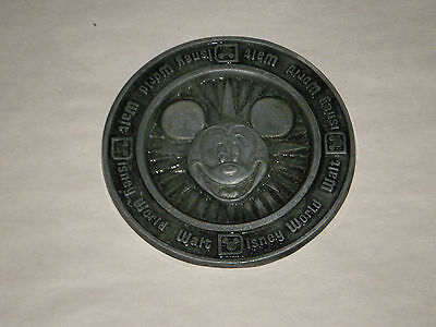 "WALT DISNEY WORLD 3.25"" PEWTER ALUMINUM COIN TOKEN COASTER MICKEY MADE IN USA"