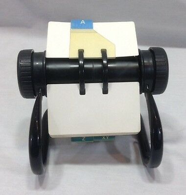 Vintage Rolodex Model 5024 X Open Rotary File Used and Unused Cards Metal Black