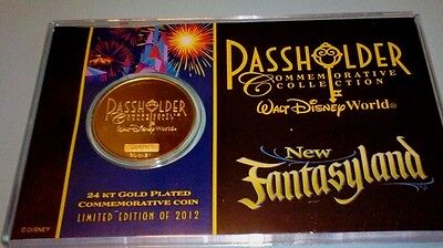 Disney Limited 2012  Passholders Gold Plated Coin Commemorative New Fantasyland