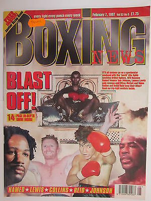 Boxing News 7 Feb 1997 Hamed Johnson Lewis Collins Reid Hardy Robinson,Dunne