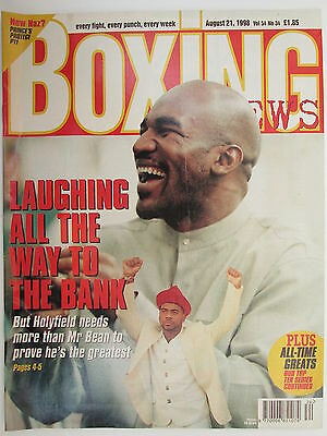 Boxing News 21 Aug 1998 Holyfield Fernando Vargas Henry Armstrong Joe Louis