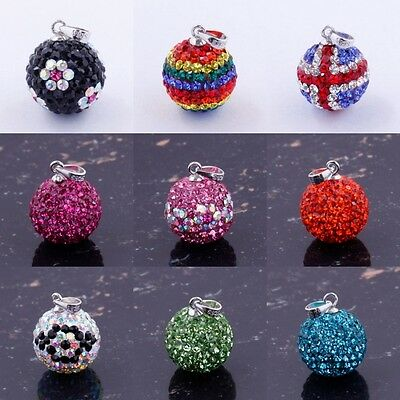 NEW CRYSTAL AUTHENTIC 925 STERLING SILVER BALL DANGEL BEADS CHARM PENDANT 14MM