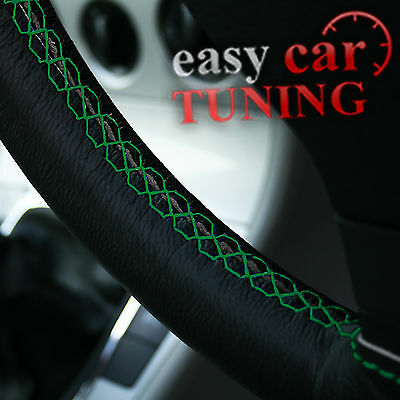 For Toyota Land Cruiser 90 96-02 Black Real Leather Steering Wheel Cover Green