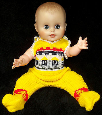 """Vintage Eegee 11"""" Vinyl Baby Doll in Yellow Knit - VGC"""