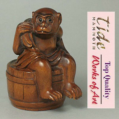 Boxwood Handcrafted Netsuke MONKEY Carving WN343
