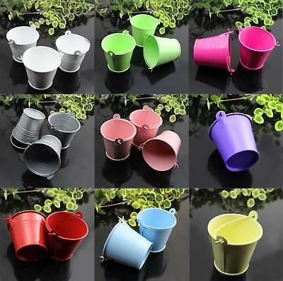 10 Pcs Metal Mini Bucket Colored Wedding Party Favour Box Gift Pails Candy Box