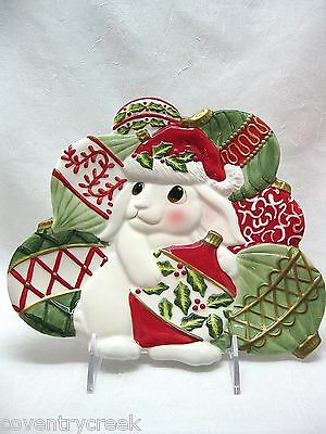 FITZ AND FLOYD CHRISTMAS BUNNY BLOOMS … CANAPE PLATE