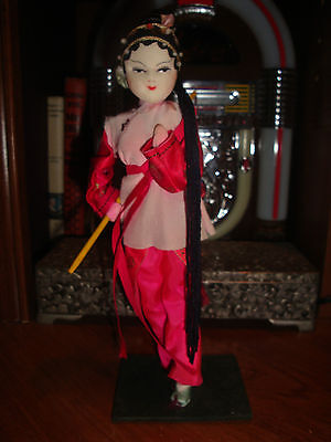 Vintage Chinese Opera Doll Red Pink Silk Costume , Blue Satin Shoes