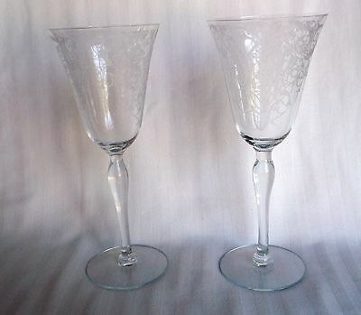 Tiffin Glass Etch 606 set of 2 Water Glasses