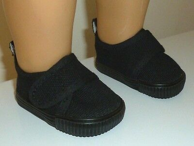 "Fits 18"" American Girl Doll Clothes Black Casual Canvas Strap Shoes"