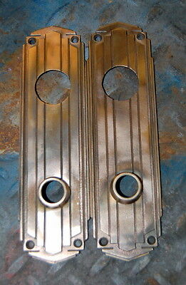 Antique Brass Yale Art Deco Skyscraper Style Door Back Plate VIntage Hardware
