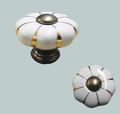 Pack of 10 x White Porcelain Cupboard Knobs With Antique Brass Base