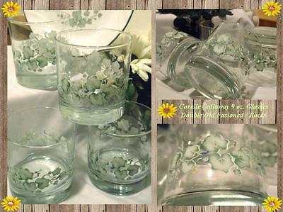 """4 Corelle CALLAWAY IVY 9 oz Double OLD FASHIONED ROCKS """"real"""" GLASS *Brand New!"""
