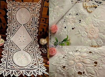 Vtg Style Tape Lace HAND Embroidered Table Runner Dress Scarf LINEN White~15x35""