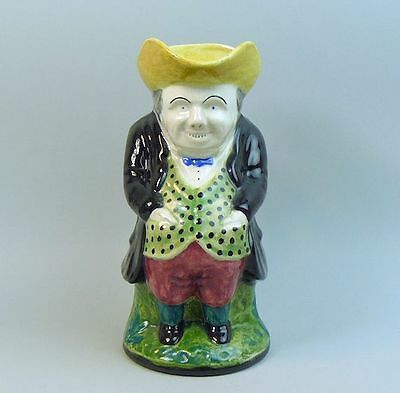 An Interesting Old Staffordshire Pottery Toby Jug Signed M.e.w. C.1932