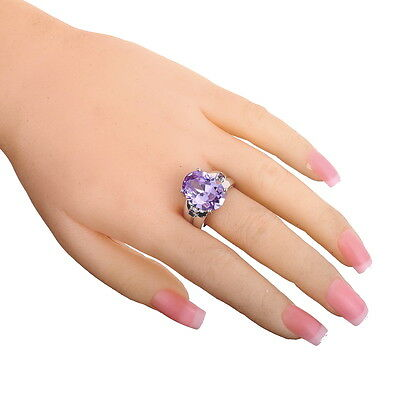 12*16mm Oval Cut  Tourmaline  Amethyst Gems Silver Ring Size 9 Christmas Gift