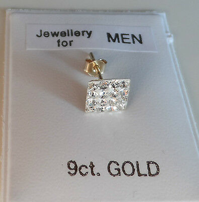 UK Made 9ct Gold Stud Earring 6mm Square simulated Diamonds Men's Boy's Women's