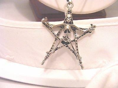 Pentagram With Skeleton On Rats Tail Chain In Solid 925 Silver