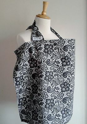 SALE Breastfeeding Apron/Cover GREY/BLACK LACE PRINT Made in UK cotton