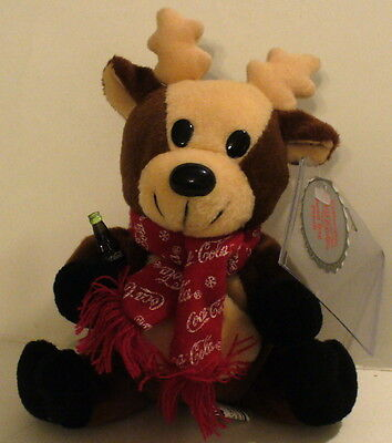 1998 Collectible Coca-Cola Bean Bag Plush Reindeer In Scarf 0142 W/tags