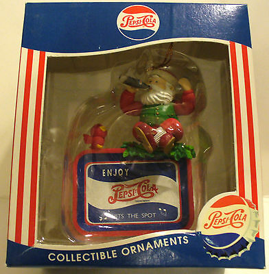1997 MATRIX PEPSICO PEPSI-COLA PLASTIC SANTA CLAUS ON A TRAY ORNAMENT W/BOX